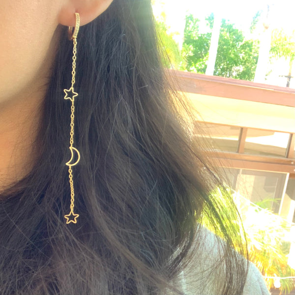 Star & Crescent Moon Earrings - GOLD COLLECTION