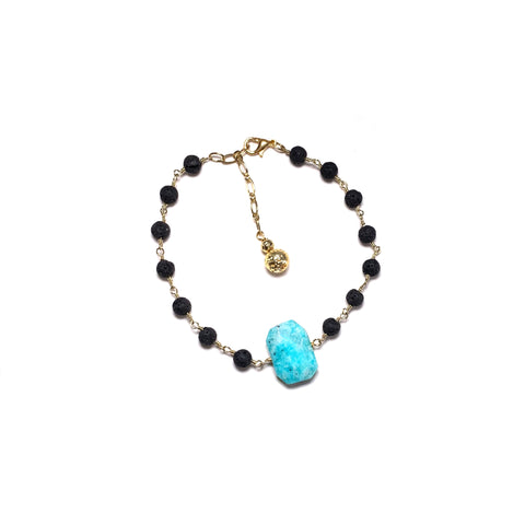 Teal Lava Anklet with Amazonite Gemstone and 2