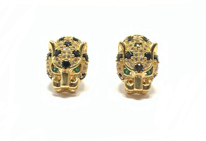 Emerald Eyed Panther Earrings - GOLD COLLECTION