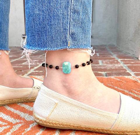 Pretty Teal Anklet with lava and Amazonite gemstone - HOT ROCKS JEWELS