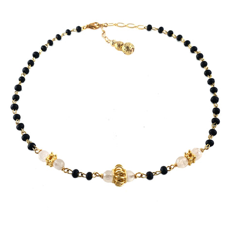 Ari Necklace - Gaia Collection - dark wood rosary chain with mystic Agate gemstones spaced with gold crown beads and luxe lava extender chain