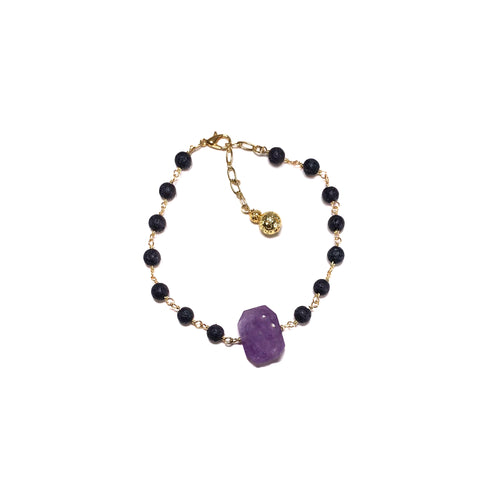 Purple Lava Anklet with Amethyst gemstone and 2