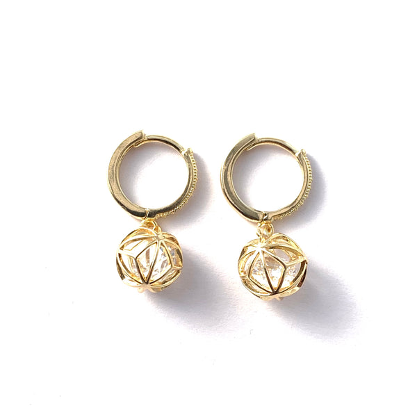 Caged Crystal Earrings - GOLD COLLECTION