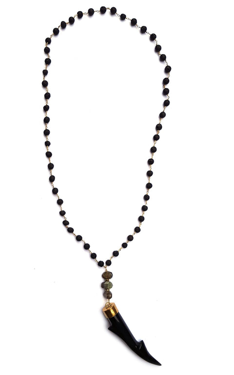 Buck Necklace with large black antler pendant on natural lava rosary chain accented with labradorite stones - Gaia Collection