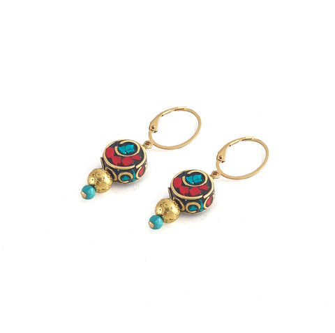 Cait Earrings - Elements Collection by Hot Rocks Jewels - handmade Tibetan mosaic beads with luxe lava and turquoise drops