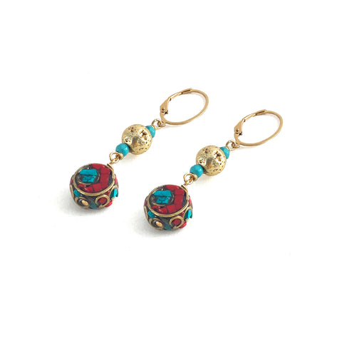 Cella Earrings - Elements Collection by Hot Rocks Jewels - Handmade Tibetan brass mosaic beads dropped from Luxe Lava & Turquoise