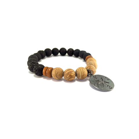 Men's Compass Bracelet- WOOD JASPER - HotRocksJewels