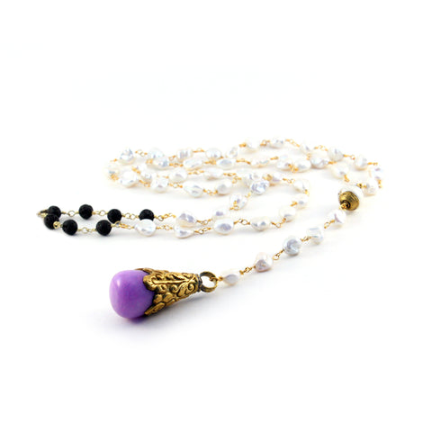 Mermaid Collection Delphin pearl necklace with handmade purple Tibetan brass pendant