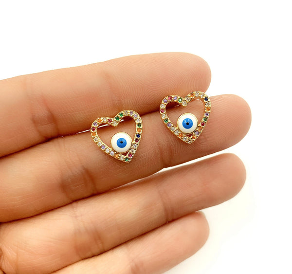 Heart Stud Evil Eye Earrings - GOLD COLLECTION