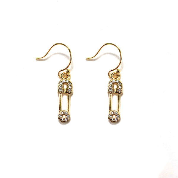 Safety Pin Earrings-      GOLD COLLECTION - HotRocksJewels