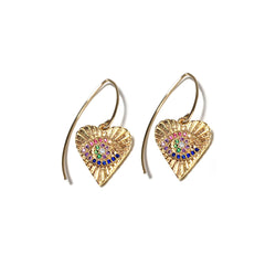 Rainbow Evil Eye Heart Earrings-    GOLD COLLECTION - HotRocksJewels