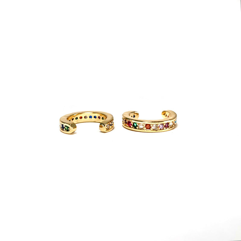 Rainbow Cuff Earrings-       GOLD COLLECTION - HotRocksJewels