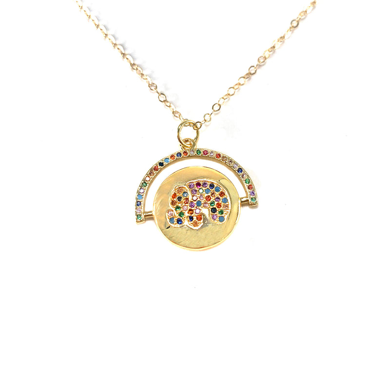 Rainbow Elephant Necklace-    GOLD COLLECTION - HotRocksJewels