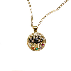 Rainbow Evil Eye Necklace-       GOLD COLLECTION - HotRocksJewels
