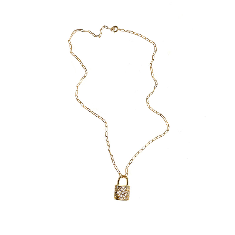 Lock Necklace-        GOLD COLLECTION - HotRocksJewels