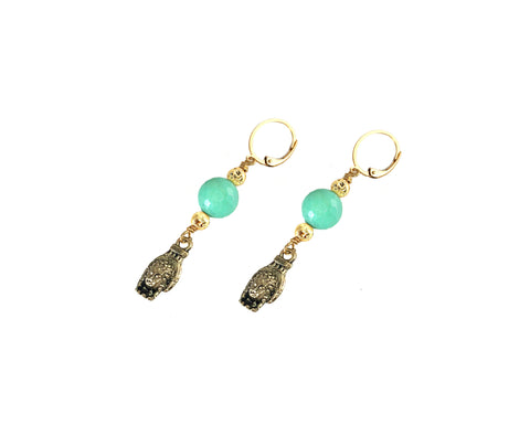 "Gita ""Teal"" Earrings with Mano charm on gold Luxe lava and amazonite drop. Playa Collection"