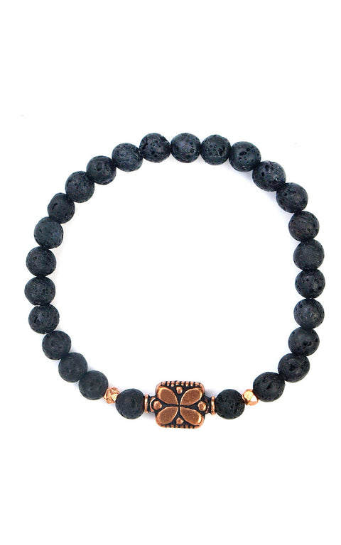 Flo bracelet with lava rocks and solid copper - Gaia Collection