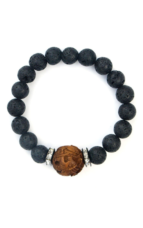 Jada Bracelet with lava and carved rosewood center - Gaia Collection