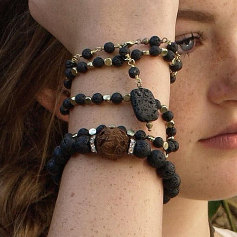 Gaia Collection Bracelets - Jada Bracelet with lava and carved rosewood center