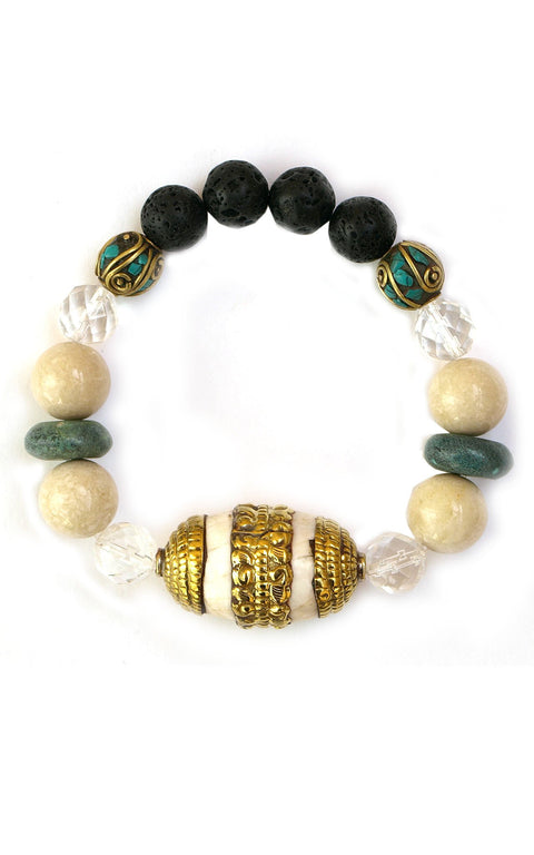 Dali Bracelet with Turquoise, Crystals, Tibetan Shell Bead and Lava - Gaia Collection