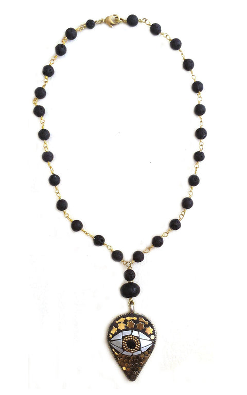I on U necklace - Inlaid mother-of-pearl pendant on natural lava rosary chain - Gaia Collection