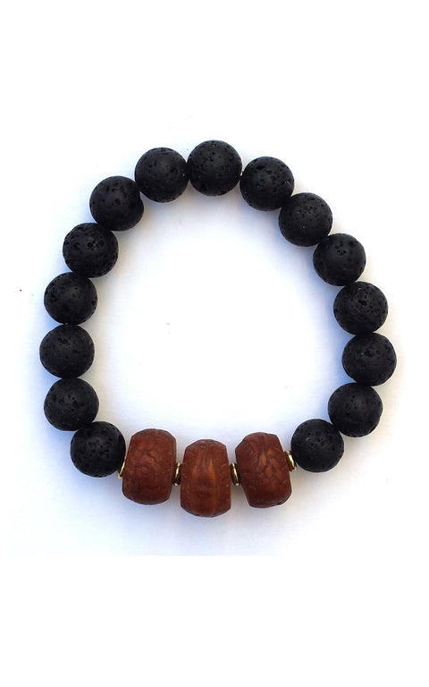 Jaka Bracelet with lava and Tibetan Mala Wood - Gaia Collection