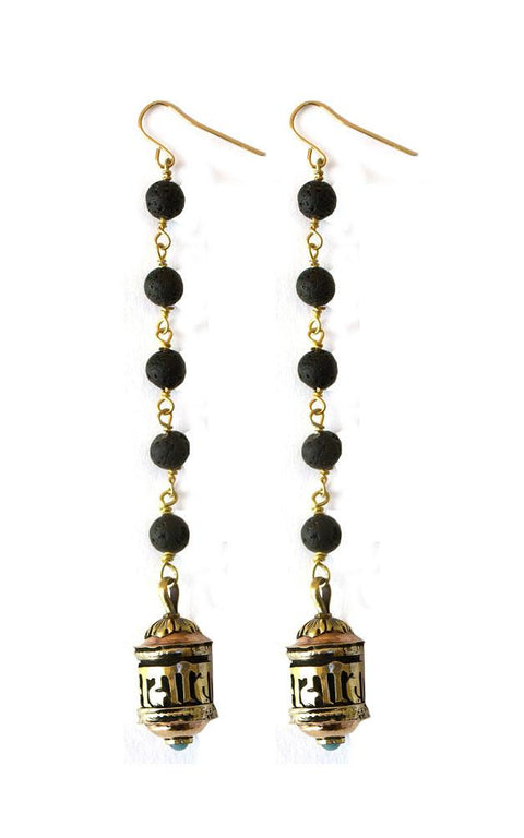 Ama earrings with lava rosary chain suspending brass and copper prayer wheel - Gaia Collection