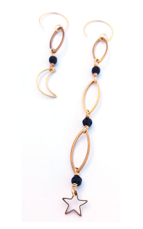 Stona Earrings - Asymmetrical length brass hoops, mini lava rock with moon and star charms - Simply Lava Collection