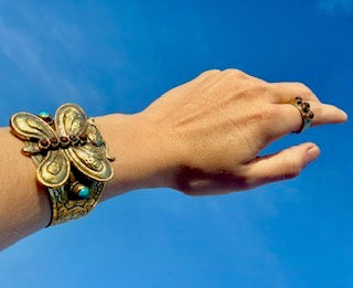 Hand tooled brass butterfly cuff accented with turquoise and lava - designed in Los Angeles and handcrafted in Nepal - Aritisan Collection by Hot Rocks Jewels