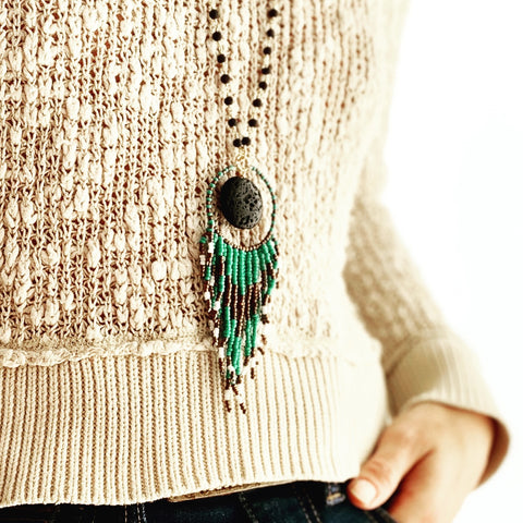Opus Necklace - Teal and bronze beaded tassel on lava rosary chain