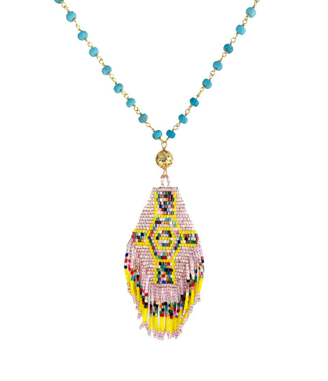 Ina Turquoise rosary necklace with boho fringe beaded tassel - Playa Collection