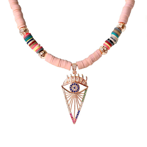 Rose gold pave evil eye pendant with luxe Lava and pink Heishi beads with multicolored accents - Isla Necklace - Hot Rocks Jewels