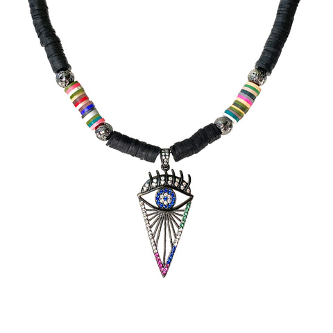 Gun metal pave evil eye pendant with luxe Lava and black Heishi beads - Isla Necklace - Hot Rocks Jewels