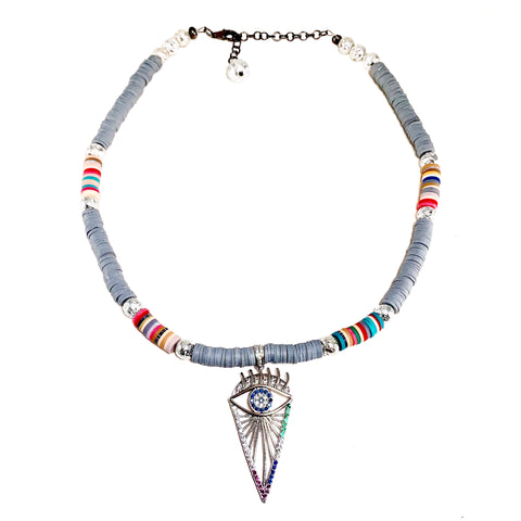 Silver pave evil eye pendant with luxe Lava and grey Heishi beads with multicolored accents - Isla Necklace - Hot Rocks Jewels