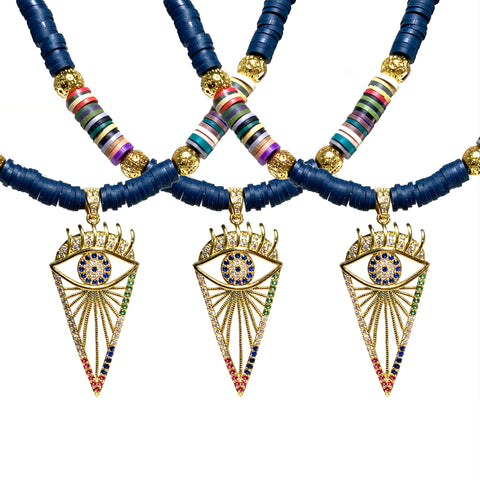 Isla Necklace - Gold pave evil eye pendant with luxe lava and heishi beads - The Viva Collection