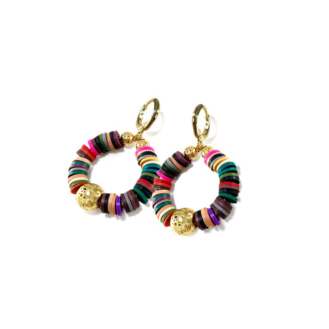 Multicolored Heishi beads with Gold Luxe Lava - Kaila Earrings - The Viva Collection