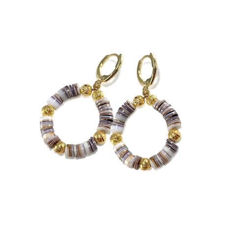 Tan multicolored Heishi beads with gold luxe lava - Kaila Earrings - Viva Collection