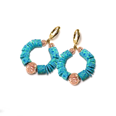 Kaila Earrings - Aqua Heishi beads with rose gold luxe lava - Viva Collection - Hot Rocks Jewels