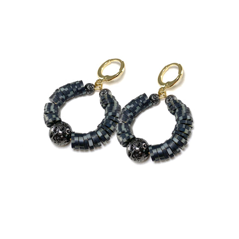 Black Multicolored Heishi beads with gunmetal luxe lava - Kaila Earrings - The Viva Collection
