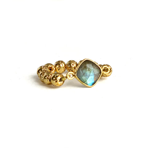 Gold luxe lava ring with Labradorite - HOT ROCKS JEWELS