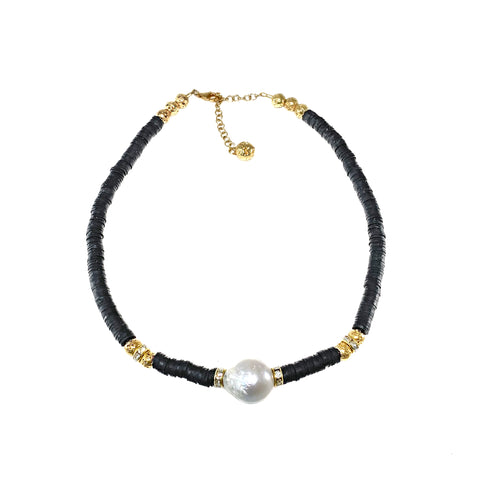 Leila Necklace - black heishi beads with giant natural pearl and gold luxe lava - The Viva Collection