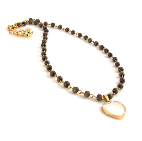 Mother of pearl heart charm dropped on taupe wood rosary chain