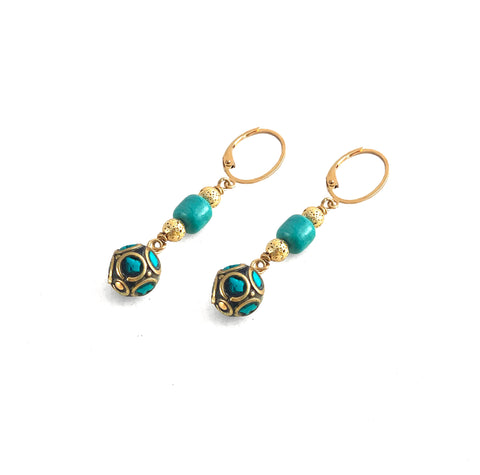 Linna Earrings - Elements Collection by Hot Rocks Jewels - Handmade Tibetan mosaic brass beads dropped by luxe lava and turquoise