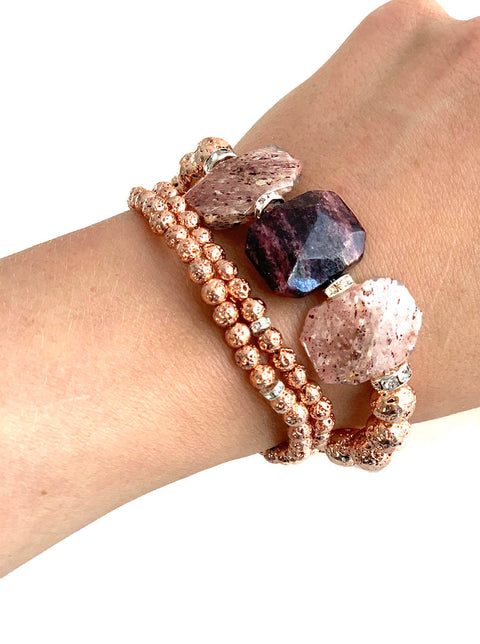 Stunning Strawberry Quartz and Rose Gold Luxe Lava - Heat up your festival look with our Playa Collection - Hot Rocks Jewels