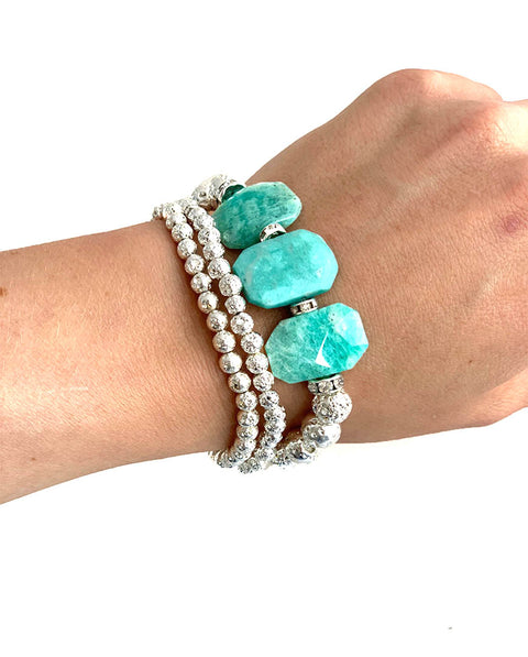 Gorgeous Amazonite faceted tablets with silver Luxe Lava rocks - heat up your festival enable with Hot Rocks Jewels - Playa Collection - for a personal diffusing bracelet, use with our signature Hot Scent Oil