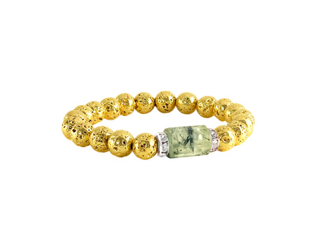 Prehnite stone with rhinestone rondells and gold lava - Fiona Bracelet - Luxe Lava Collection