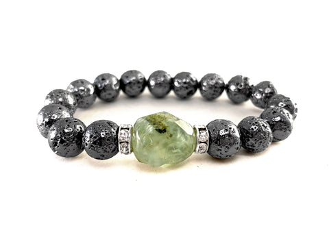 Prehnite Bracelet - Gunmetal Metallic Lava with Prehnite Nugget - Luxe Lava Collection