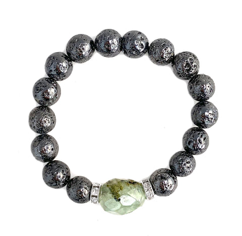 Gunmetal Metallic Luxe Lava with Striated Prehnite Nugget - Luxe Lava Collection - Hot Rocks Jewels