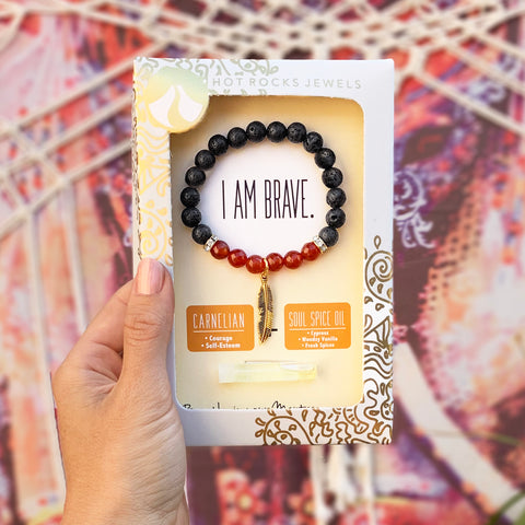 """I AM BRAVE"" Bracelet - MANTRA COLLECTION - HotRocksJewels"