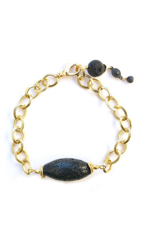 Maya Bracelet - Vintage gold-plated chain with Marquis shaped lava stone - Simply Lava Collection